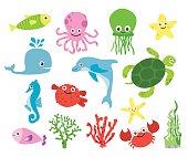 Cute vector sea creatures