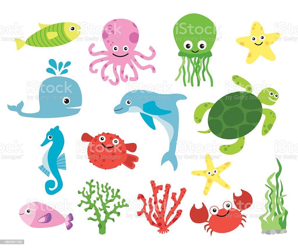 Cute vector sea creatures vector art illustration