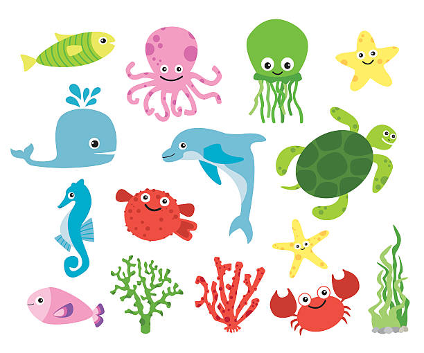 Cute vector sea creatures Cute vector sea creatures - dolphin, fish, starfish, coral, jellyfish, turtle. Brigh colors. marine life stock illustrations