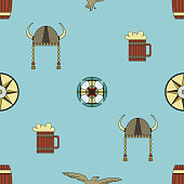 Cute vector seamless pattern about Vikings life.