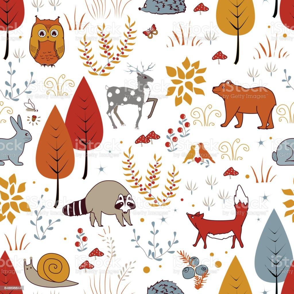 かわいいベクター森林植物鳥熊鹿タヌキキツネとのシームレスなパターン