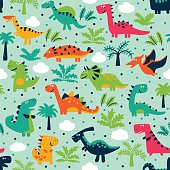 Vector seamless pattern with funny dinosaurs, clouds and trees. Ideal for cards, invitations, wallpaper, web page backgrounds, textile industry, kindergarten, preschool and children room decoration.