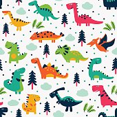 Cute vector seamless pattern with funny dinosaurs, clouds and trees