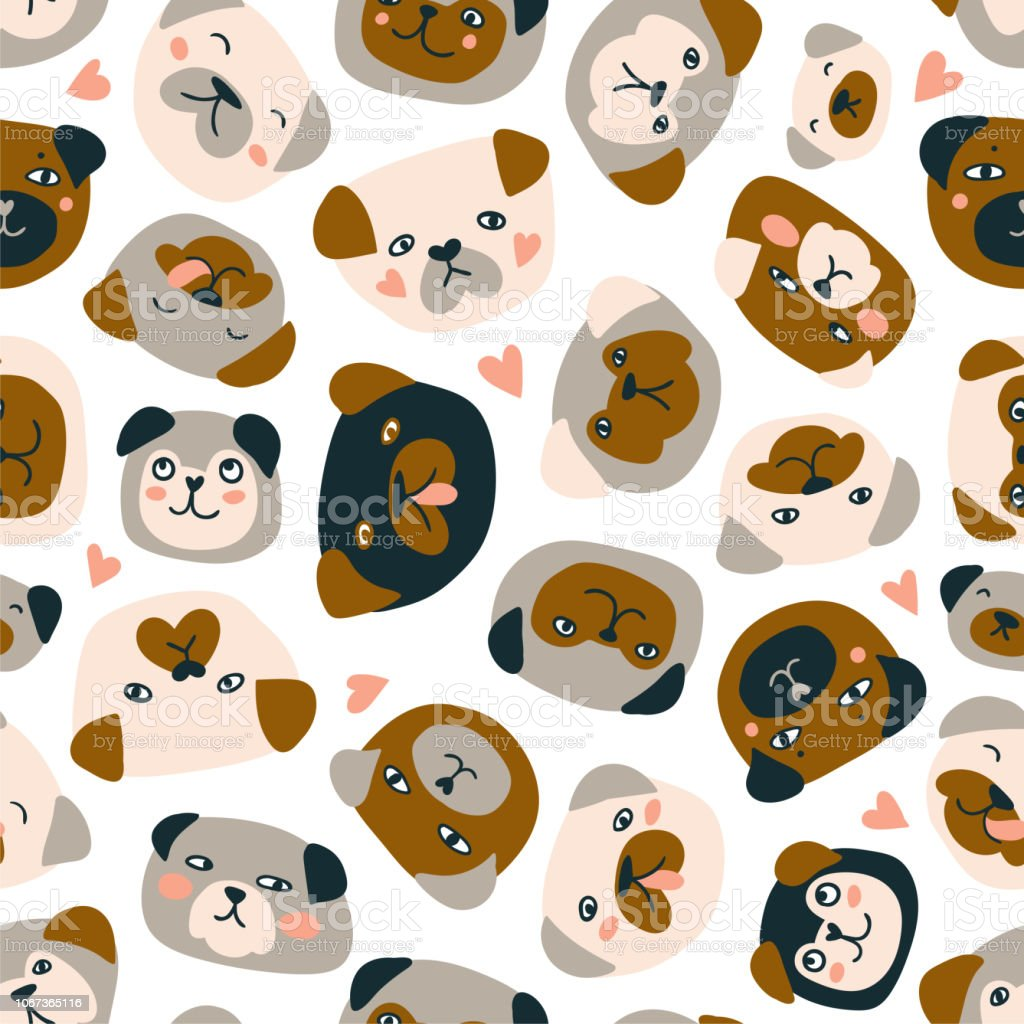 Cute vector seamless pattern with heads of dogs isolated on the white background. Funny pugs fabric design. vector art illustration