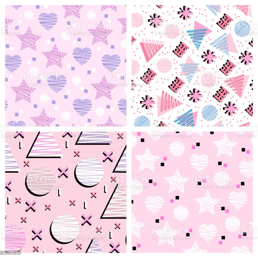 4 cute vector seamless patterns set of romantic templates perfect