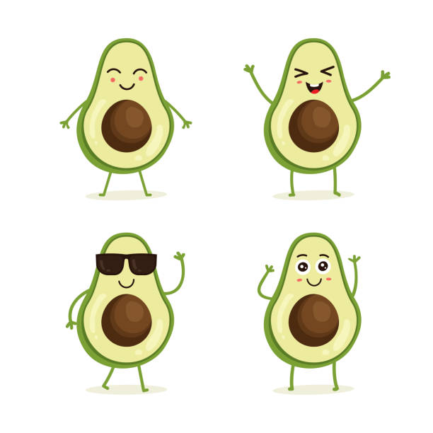 Cute vector set of avocado fruit character Cute vector set of avocado fruit character in different action emotion. Collection of avocado characters in different expressions, Funny fruit character isolated on white background avocado stock illustrations
