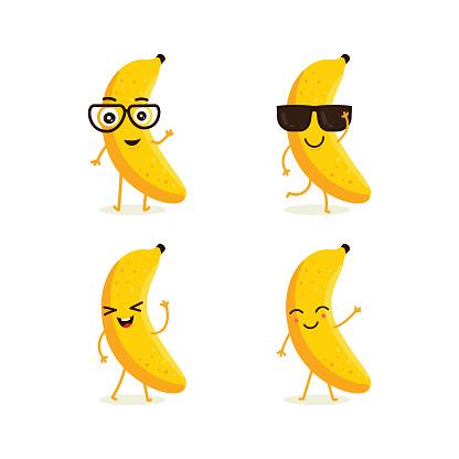 Cute vector set of banana fruit character in different action emotion