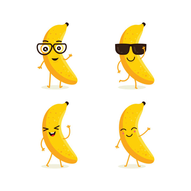 Cute vector set of banana fruit character in different action emotion Cute vector set of banana fruit character in different action emotion. Collection of banana characters in different expressions, Funny fruit character isolated on white background banana stock illustrations