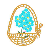 istock Cute vector set of compositions of flowers and forget me not buds: an inflorescence of forget-me-not buds, a small bouquet, cartoon basket with flowers. Stock illustration 1300775998