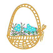 istock Cute vector set of compositions of flowers and forget me not buds: an inflorescence of forget-me-not buds, a small bouquet, cartoon basket with flowers. Stock illustration 1300838381