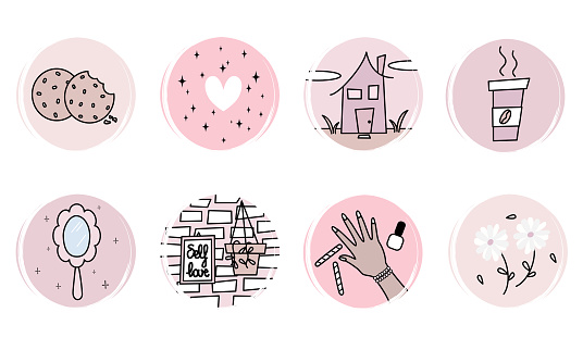 cute vector set of logo design templates, icons and badges for social media highlight with feminine delicate elements