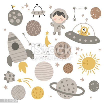 istock cute vector set of planets with textures 1313110309
