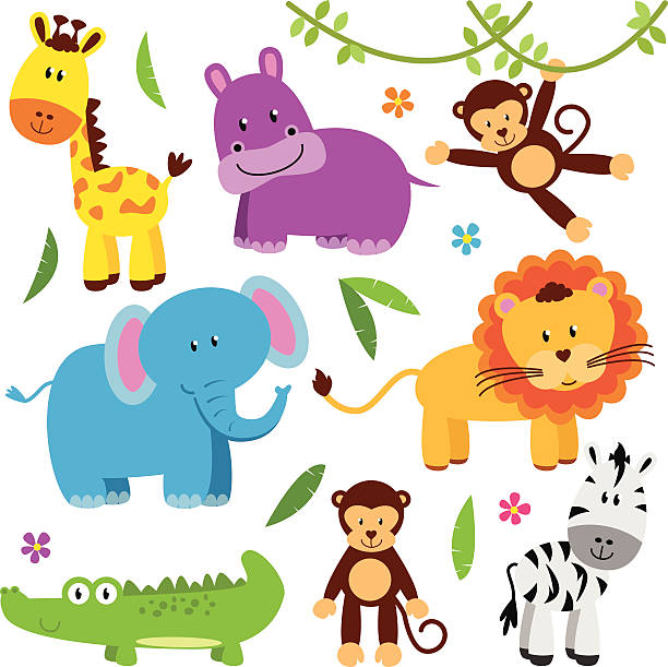 cute vector set of zoo animals - baby animals stock illustrations