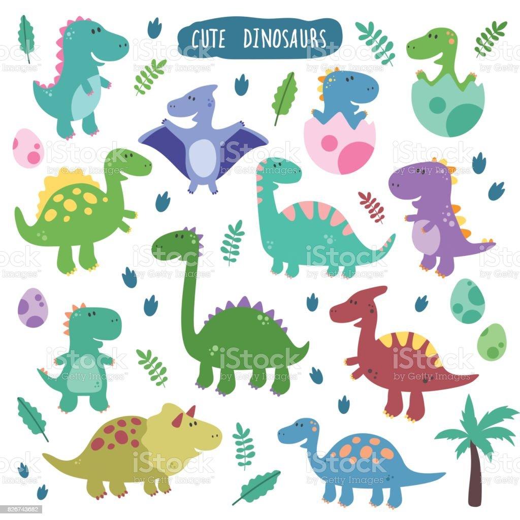 Bonito vetor definido com os dinossauros. - ilustração de arte em vetor