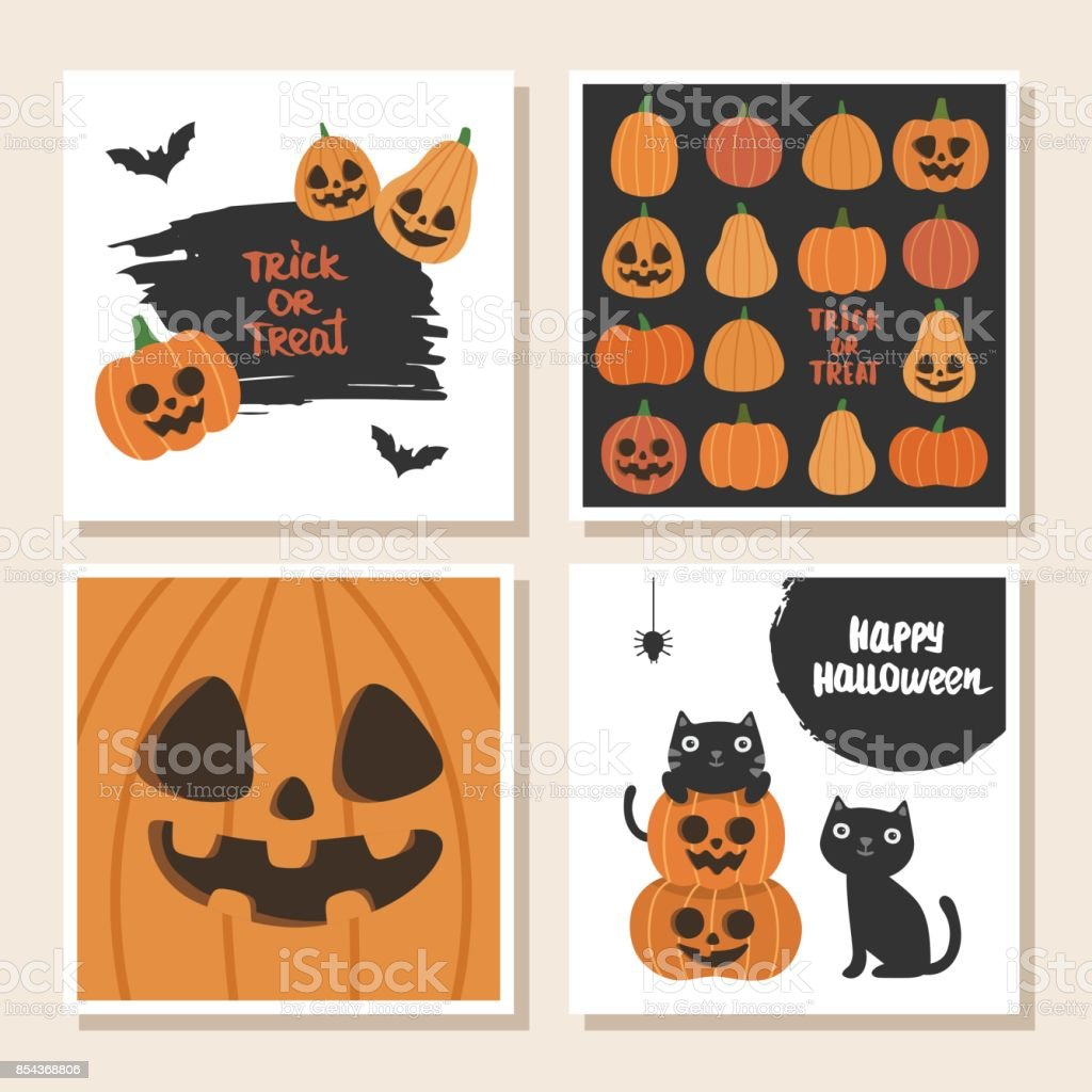 cute vector set with halloween cards invitations royalty free cute vector set with