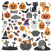 Smiling and funny cartoon characters: pumpkin, ghost, cat, bat, candy jar. Stickers, icons, design elements