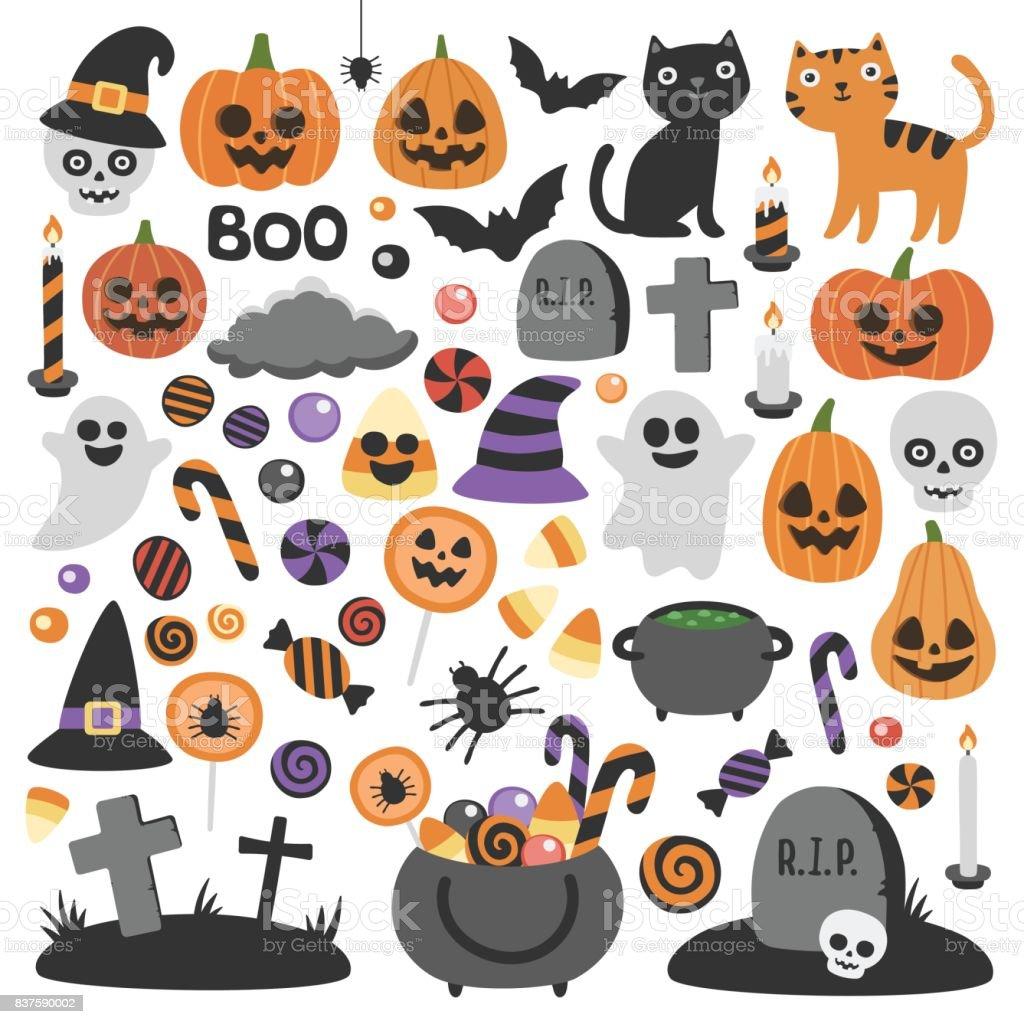 Niedliche Vektor set mit Halloween-Illustrationen. – Vektorgrafik