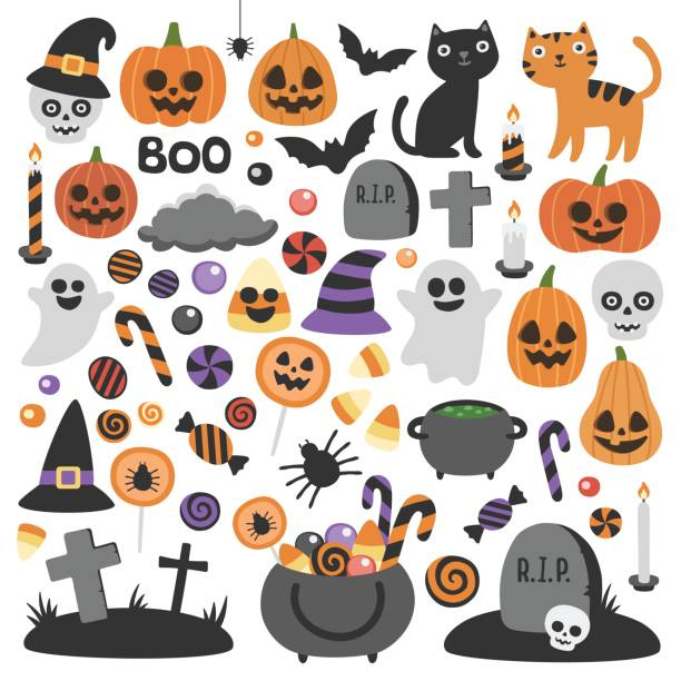 cute vector set with halloween illustrations. - halloween stock illustrations, clip art, cartoons, & icons
