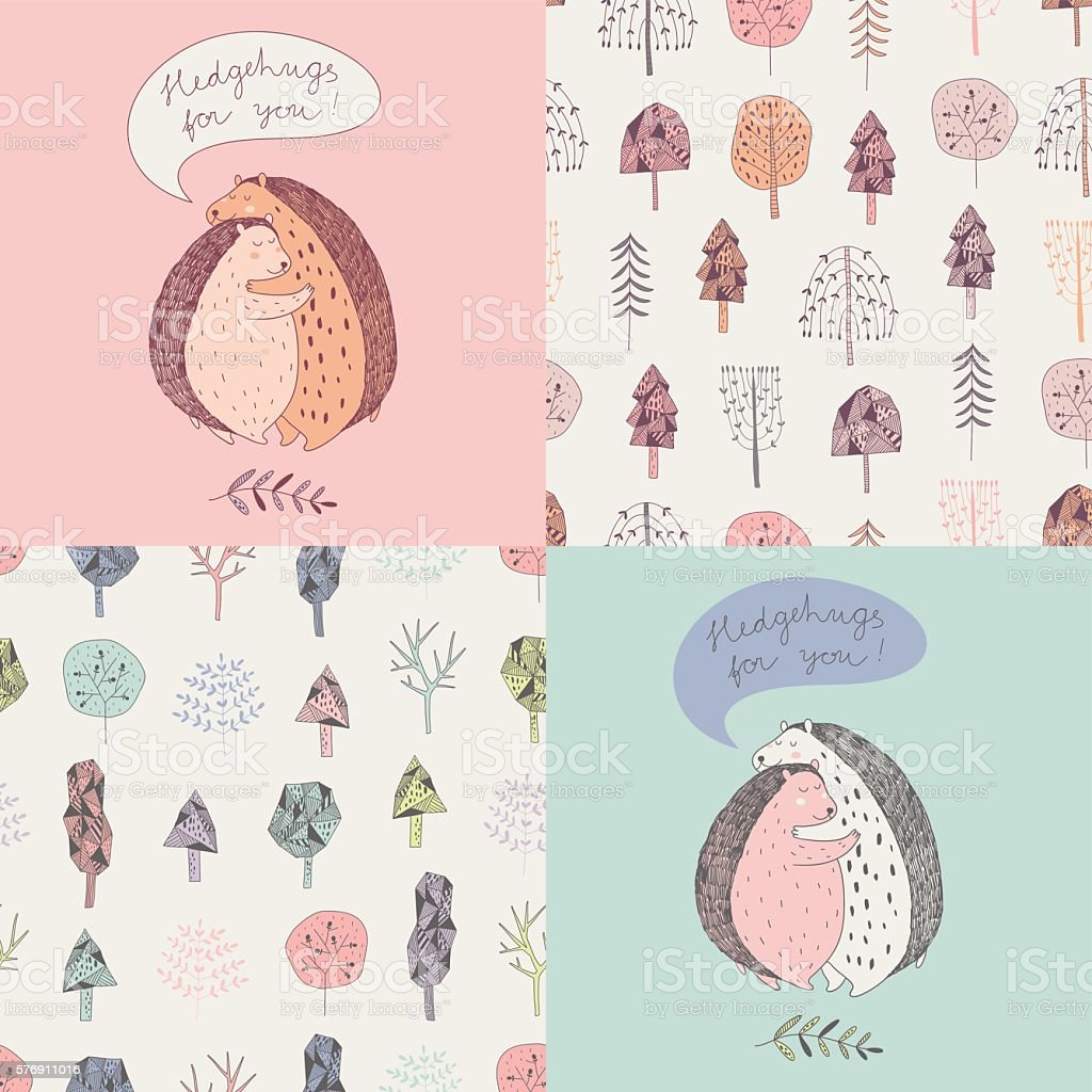 cute vector set with two cards and two seamless patterns vector art illustration