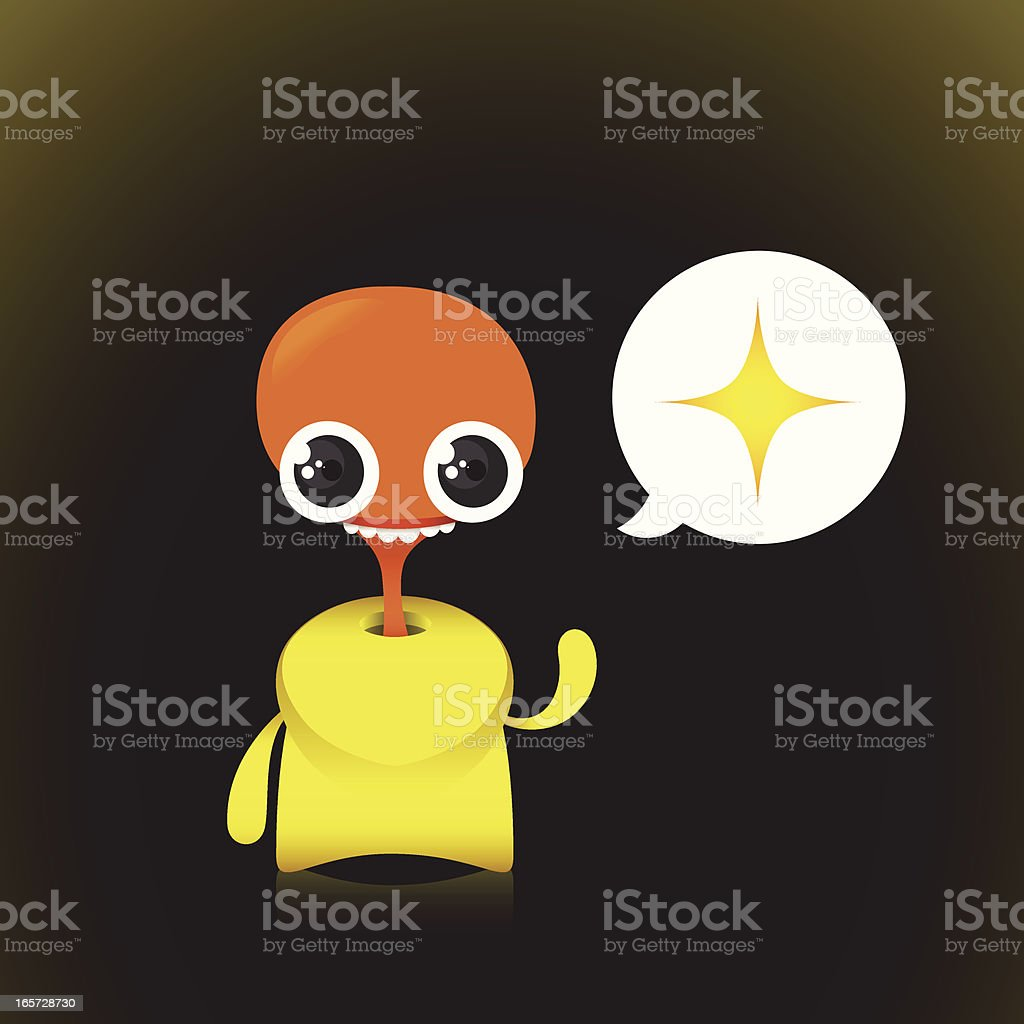 Cute Vector Silly Character In Suit Waving royalty-free stock vector art