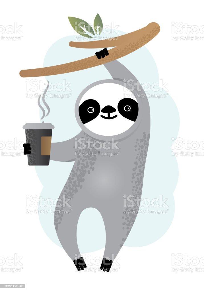 Ilustración de Animal De Oso Perezoso De Vector Lindo Con Café Día ...