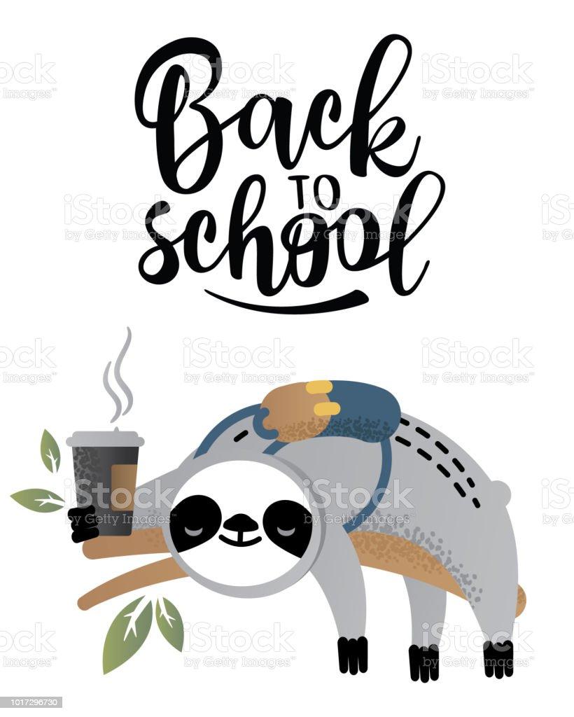 Ilustración de Animal De Oso Perezoso De Vector Lindo Con Café ...