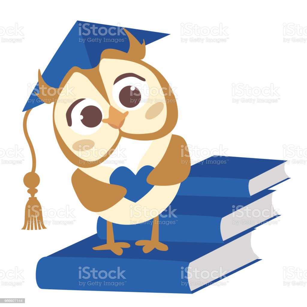 Cute vector smart owl with hat. Illustration for the diploma of kindergarten graduates.  Back to school vector art illustration