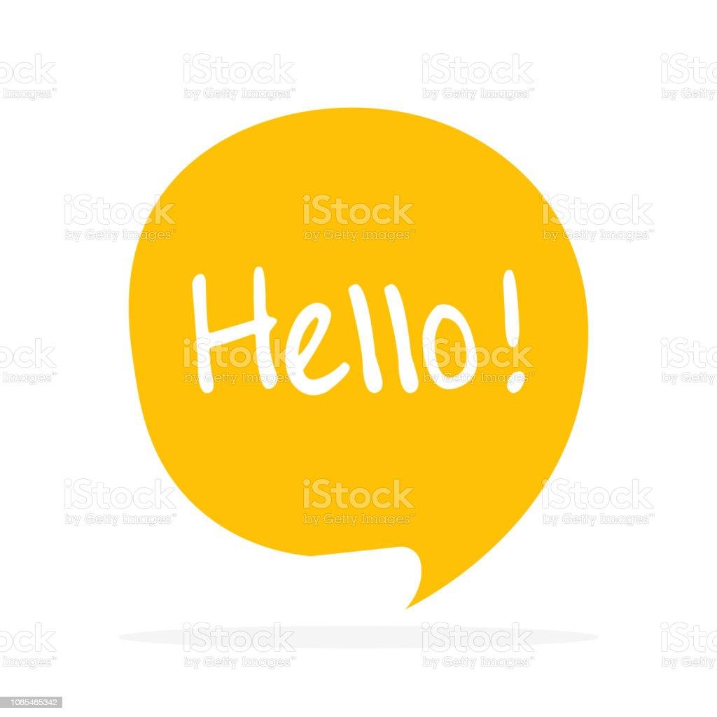 Cute vector speech bubble icon with hello greeting - Grafika wektorowa royalty-free (Baner)