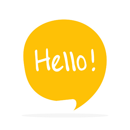 Cute vector speech bubble icon with hello greeting