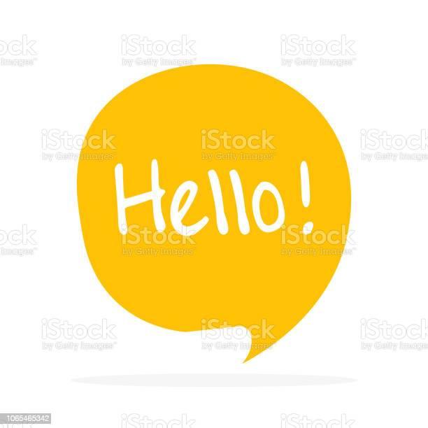 Cute Vector Speech Bubble Icon With Hello Greeting - Stockowe grafiki wektorowe i więcej obrazów Baner