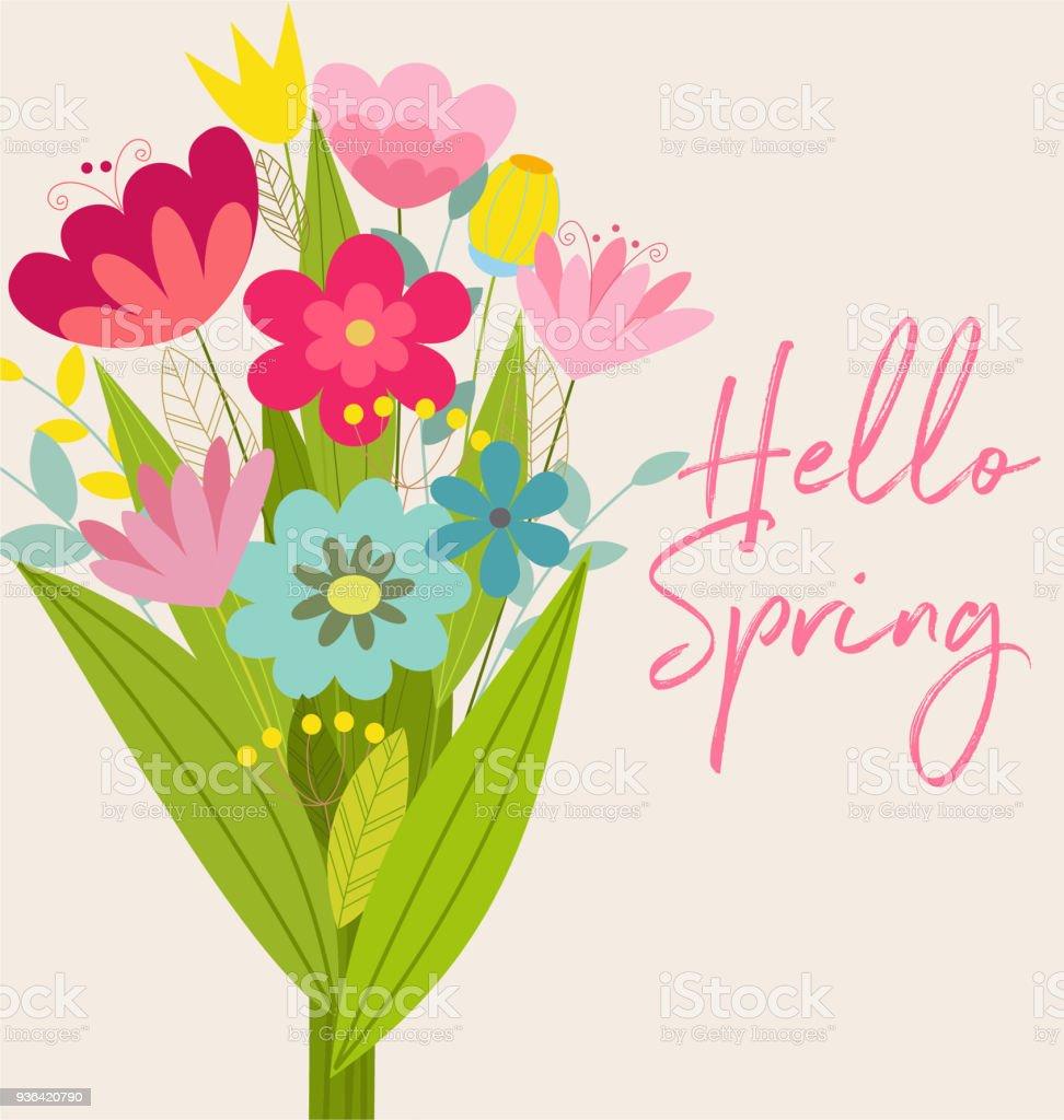 Ilustracion De Tarjeta De Primavera De Vector Lindo Con Flores