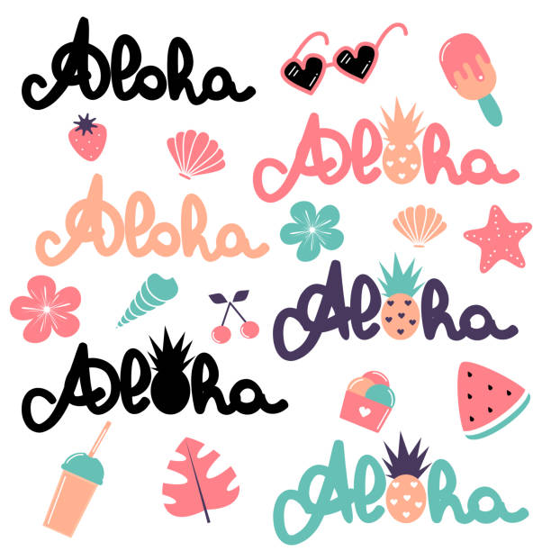 cute vector summer elements collection with hand drawn lettering word aloha, watermelon, smoothie, monstera, ice cream, pineapple, cherry, strawberry, flowers, sunglasses and seashell - ice cream stock illustrations