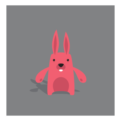 Cute Vector Tiny Pink Bunny Character