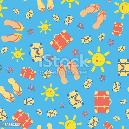 istock Cute vector travel seamless pattern background with kawaii sun, suitcases, flip flops, sea shells. Fun repeat with colorful vacation icons on blue backdrop. For summer, beach holiday, leisure concept 1328303021