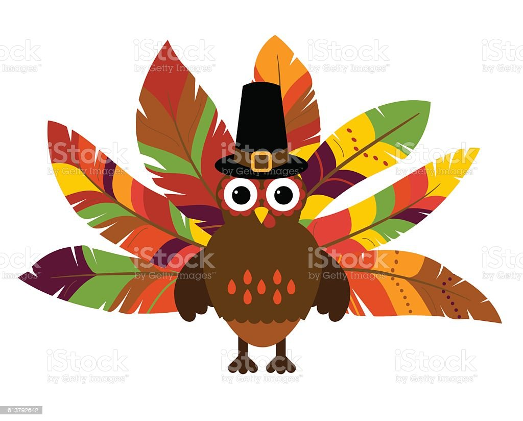 cute vector turkey with colorful feathers for thanksgiving and fall