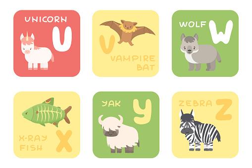 Cute vector U-Z zoo alphabet isolated education cards with cartoon animals. Unicorn, vampire bat, wolf, x-ray fish, yak, zebra animals, flat style