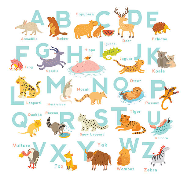 Royalty Free Cute Alphabet Letters Drawing Clip Art Vector Images