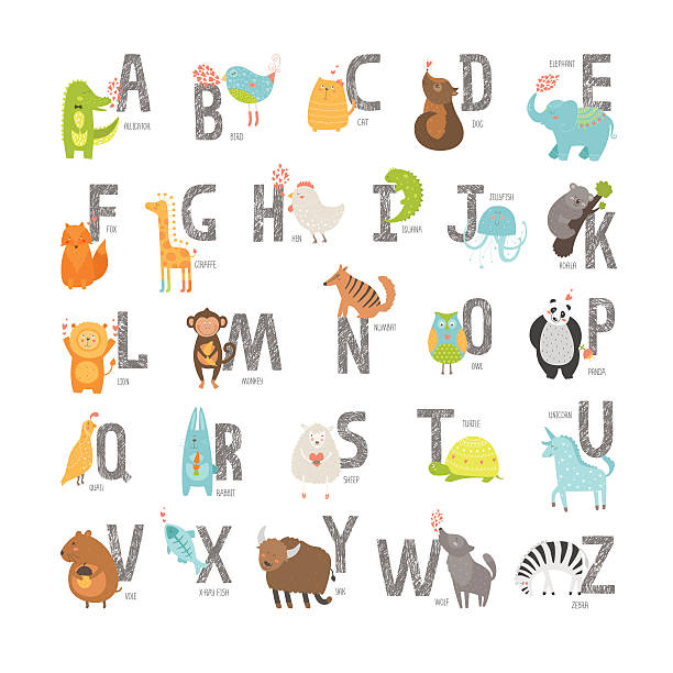 niedliche vektor zoo alphabet - giraffenhumor stock-grafiken, -clipart, -cartoons und -symbole