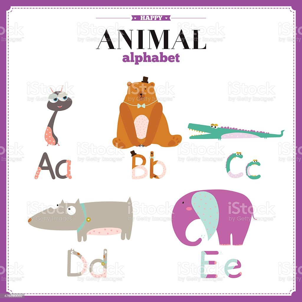 かわいい動物のベクトルで面白い漫画アルファベット動物 のイラスト
