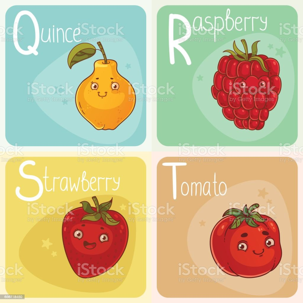 cute vegetable and fruit alphabet letters q r s and t stock vector