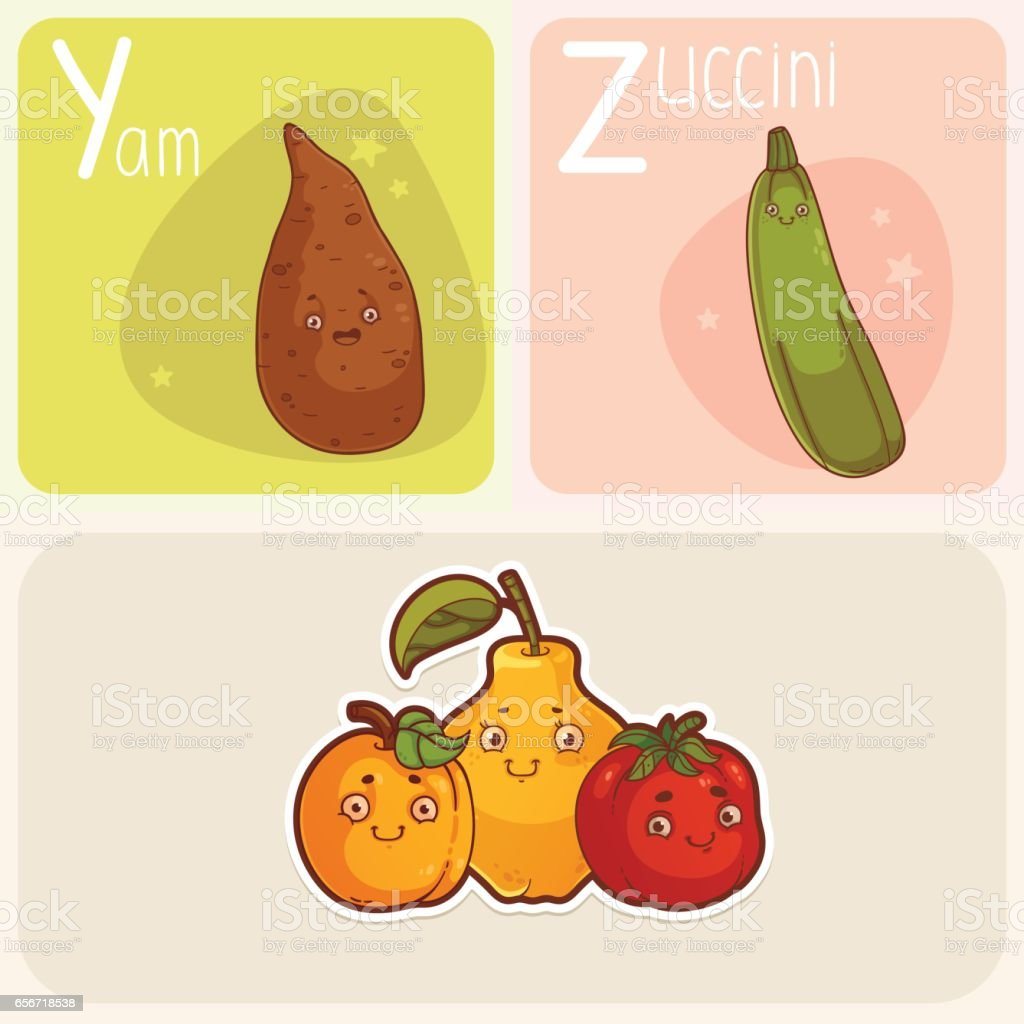 Cute Vegetable and Fruit Alphabet - Letters Y and Z vector art illustration