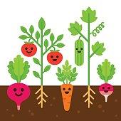 Cute vegetable garden illustration