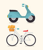 Motorcycle and bike over white background. Vector illustration