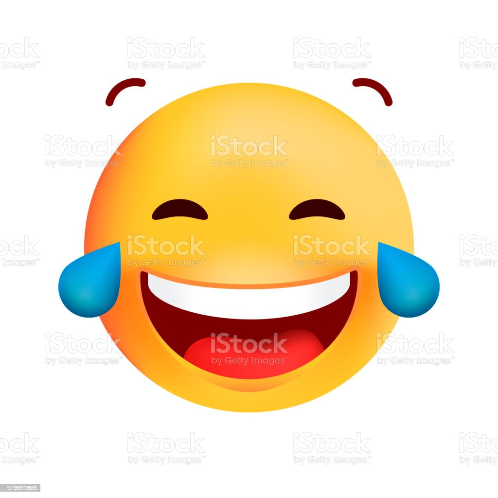 Cute Very Happy with Tears of Joy Emoticon on White Background . Isolated Vector Illustration vector art illustration