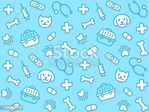 istock Cute vet seamless pattern 1296848705