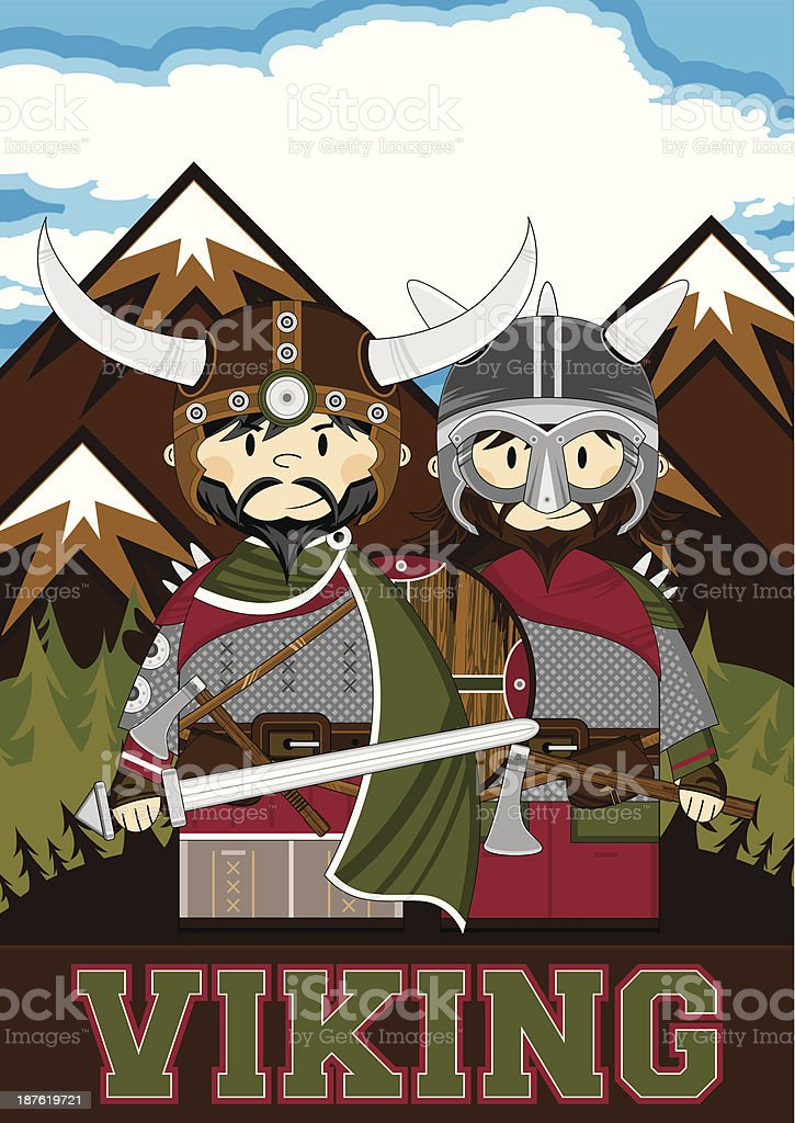 Cute Viking Warrior Learning Illustration royalty-free cute viking warrior learning illustration stock vector art & more images of adult