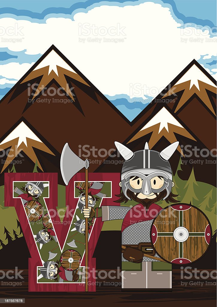 Cute Viking Warrior Learning Letter V royalty-free stock vector art