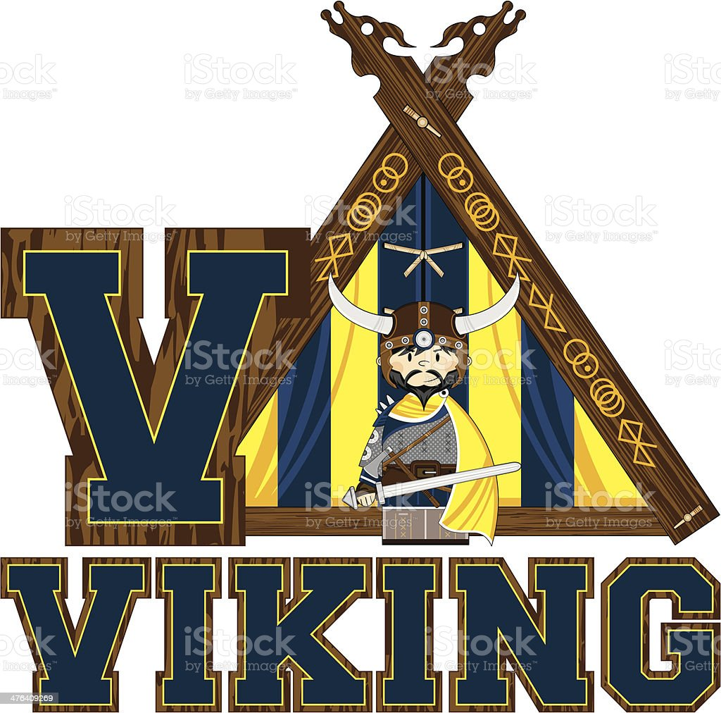Cute Viking Warrior Learning Letter V royalty-free cute viking warrior learning letter v stock vector art & more images of adult