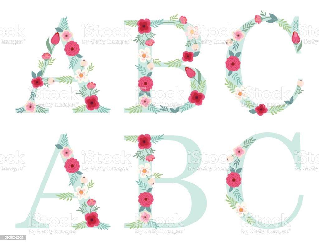 Ilustración de Letras Del Alfabeto Vintage Lindo Con Flores Rústicos ...