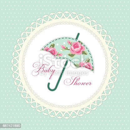 istock Cute vintage baby shower card with umbrella as fabric applique 687421890